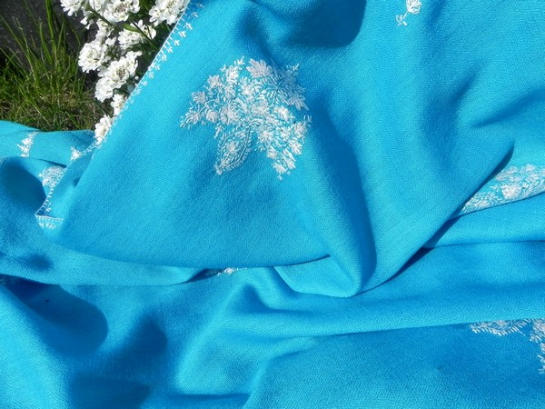 Turquoise reversible wool stole