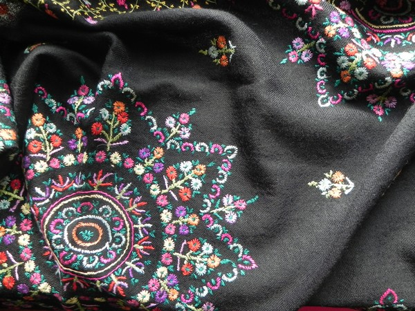 Black hand embroidered Folk art shawl