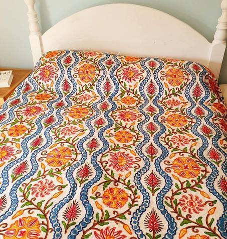 Crewel Embroidered Bedspread