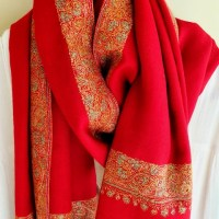 Deep Red Cashmere ShawlGimped
