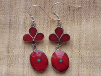 Tibetan Coral and Silver Earrings