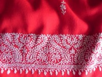 Red wool stole with White