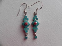 Tibetan Silver and Turquoise drop earrings