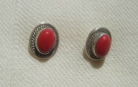 Silver and coral stud earrings