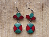 Tibetan Turquoise, coral and silver earrings